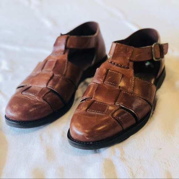 Vintage Mens Woven Leather Fisherman
